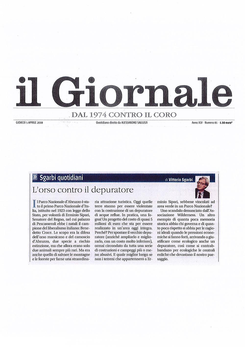 2018 04 05 - Wilderness IT - ARTICOLI - Articolo Sgarbi - Ritaglio